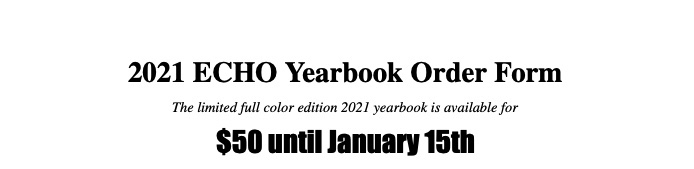 BRHS ECHO 2021 Yearbook Presale - Vernon (Non Refundable)