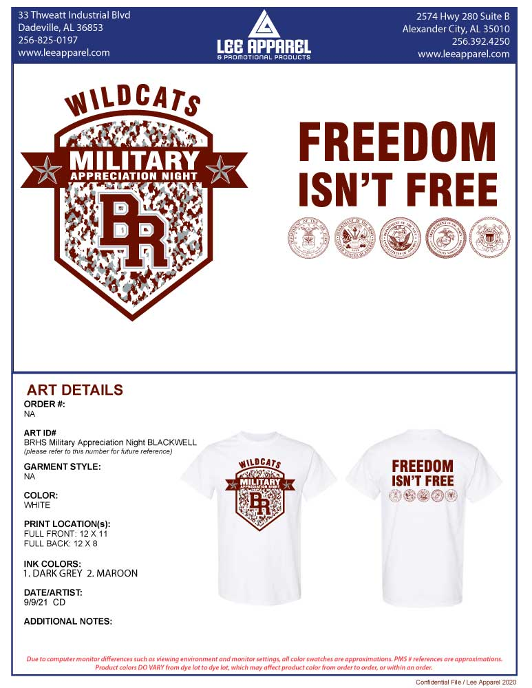 BRHS Quarterback Club - Military Appreciation Night T-Shirts - Coach Aubrey Blackwell (Non-Refundable)